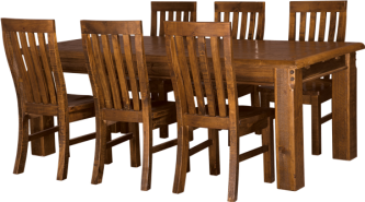 FARMHOUSE DINING TABLE 150X90 + 6 X SOLID SEAT CHAIRS