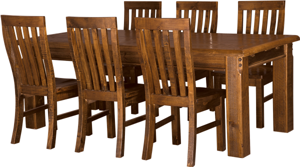 FARMHOUSE DINING TABLE 180X105 + 6 X SOLID SEAT CHAIRS