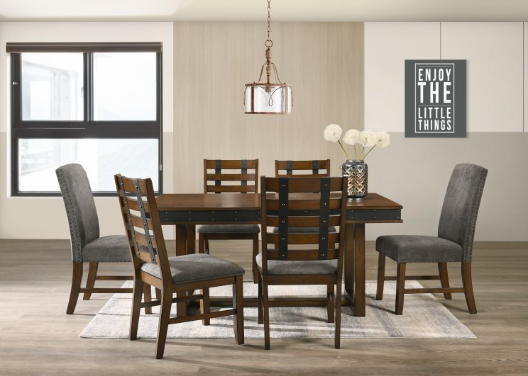 POSTY 160 7 PIECE DINING SUITE WITH FABRIC BACK CHAIRS
