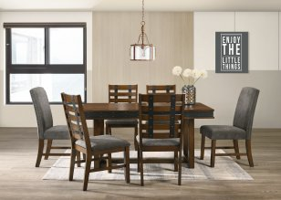 POSTY 160 7 PIECE DINING SUITE WITH SOLID BACK CHAIRS